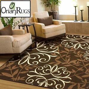 "NEW ORIAN IRON FLEUR AREA RUG 5'0"" x 7'6"" - BROWN TAN CHOCOLATE - RUGS CARPETS CARPET FLOORING DECOR MAT MATS  89693496"