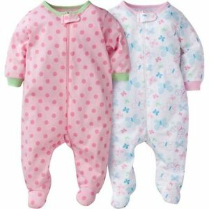 NEW: Gerber 4 pieces Chidrenswear Girl's Zip-Front Outfits
