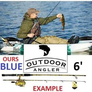 NEW 6' WATERDROP FISHING ROD COMBO WCMK602-B 182617845 OUTDOOR ANGLER SPINNING ROD/REEL BLACK/BLUE