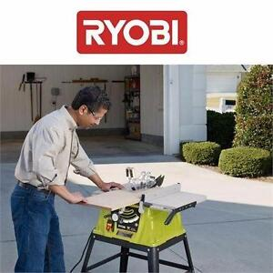 USED RYOBI TABLE SAW WITH STAND   10-INCH, 15 AMP POWER TOOL EQUIPMENT INDOOR HOME IMPROVEMENT  84825151