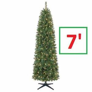 NEW 7FT PRE-LIT ARTIFICIAL TREE 7 ft. Pre-Lit Wesley Pencil Spruce Artificial Christmas Tree with Clear Lights 84468665