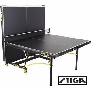 "NEW* STIGA EUROTEK PING PONG TABLE   BLACK YELLOW - 3/4"" - TABLE TENNIS TABLES BEER PONG PADDLE SPORT GAMES 91065903"
