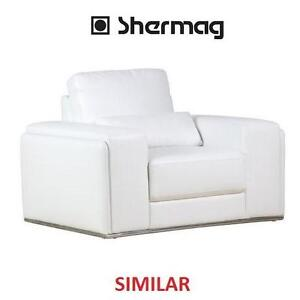"""NEW SHERMAG MOD WHITE ARMCHAIR WHITE LEATHER CHAIR - 44"""" x 40"""" x 33"""" 108571222"""