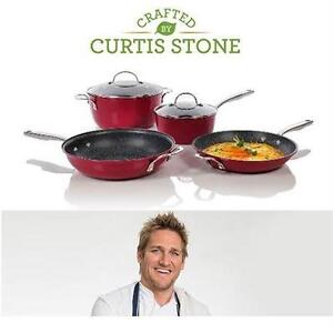 NEW CURTIS STONE 6PC COOKWARE SET   Curtis Stone 6-Piece DuraPan Cookware Set - RED  88566382
