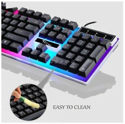 BEST FORTNITE Lighting Keyboard & Mouse Kit Rainbow LED Gaming For PS4 Xbox PC