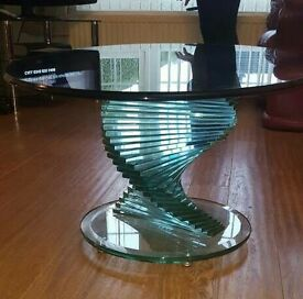 unique spiral based solid glass coffee table