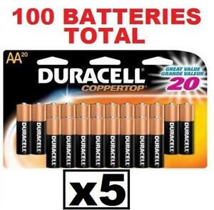 5 NEW 20PK DURACELL AA BATTERIES 162133452 DURALOCK COPPERTOP EXP 12/2022 100 TOTAL