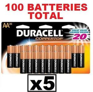100 NEW DURACELL AA BATTERIES 5 PACK OF 20 DURALOCK COPPERTOP BATTERIES - EXP 12/2022 98494723