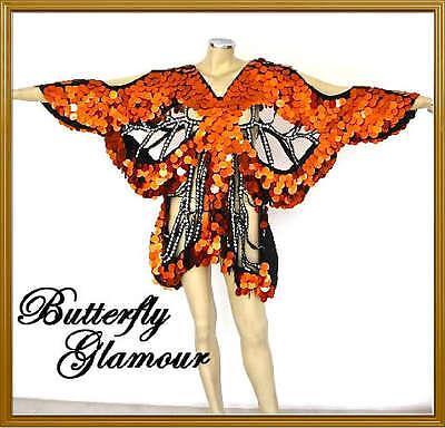 ORANGE Sequin Drag Queen butterfly Halloween GLAM dress
