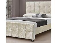 Cube high headboard crush velvet double bed with orthopedic or memory foam mattress