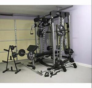 Nautilus smith machine cable cross over with many attachments