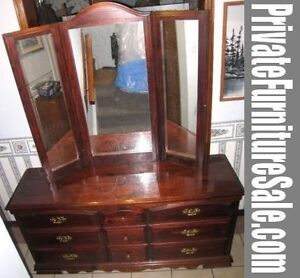 Wood 9-drawer Dresser with Triple Mirror,delivery extra $$,read