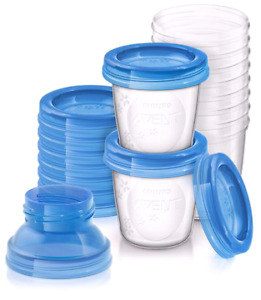 Milk storage containers.