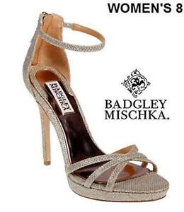 BADGLEY MISCHKA SIGNIFY STRAPPY EVENING SANDALS - SIZE 8
