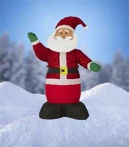 "4 Ft Airblown Inflatable""Tinsel""Santa Christmas Decoration w/Inside Lights 144S9"
