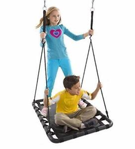 HEARTHSONG MEGA MAT RECTANGULAR OUTDOOR PLATFORM TREE SWING - BLUE