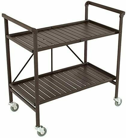 Lightweight 2 Shelve Metal Foldable Rolling Serving Cart