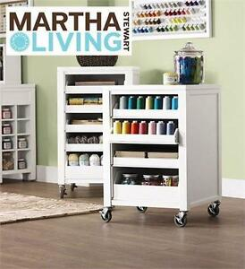 "NEW MARTHA STEWART 31"" CART Picket Fence Cart With Pull Out Trays CRAFT ROOM STORAGE ORGANIZATION"