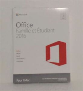 NEW  Microsoft Office for Mac Home & Student 2016 French  1 MAC