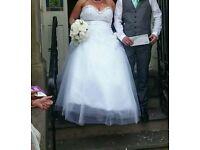 WHITE WEDDING DRESS SIZE 20 and DIAMOND WEDDING SHOES SIZE 6