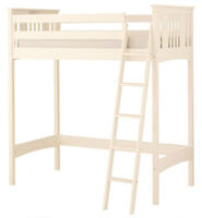 White Solid Pine Loft Bed