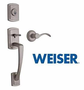 NEW WEISER SINGLE CYL. HANDLESET   GRAYSON SINGLE CYLINDER HANDLESET W/ TRAPANI LEVER - SATIN NICKEL  84592682