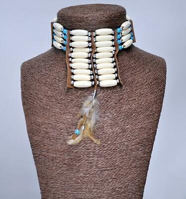 ETHNIC TRIBAL INDIAN NATIVE AMERICAN Plastic Metal Bead Feather CHOKER NECKWEAR