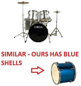 NEW CODA 5 PIECE DRUM SET - BLUE 5 PIECE KIT - DRUMS MUSIC STAGE BEAT MUSICAL INSTRUMENT PERCUSSION  79626326