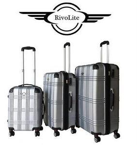 NEW RIVOLITE HARD SPINNER SET SILVER - LIGHTWEIGHT SUITCASE LUGGAGE travel gear bag