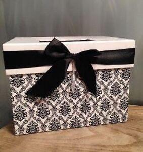 Elegant Black & White Damask Print Card Box