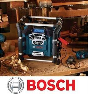 NEW BOSCH JOBSITE POWER BOX STEREO with 360 Degree Sound and Digital Media Bay - RADIO TOOLS POWER ACCESSORIES
