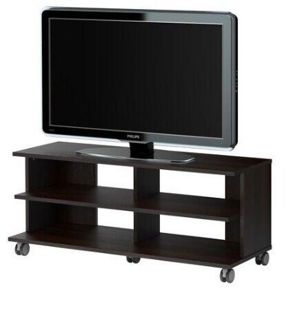 IKEA TV stand/bench on castors/wheels, black veneer - 118x38x52 cm – VERY GOOD CONDITION