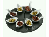 Premier Housewares Appetiser Set, 4 Oval Dishes & Spoons, Porcelain, Slate Tray