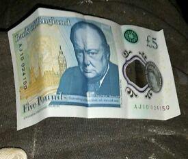 Aj10 £5 note