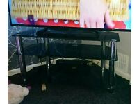 Black glass TV unit, nest of tables and corner shelves
