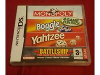 Monopoly, boggle, yahtzee, battleship DS game