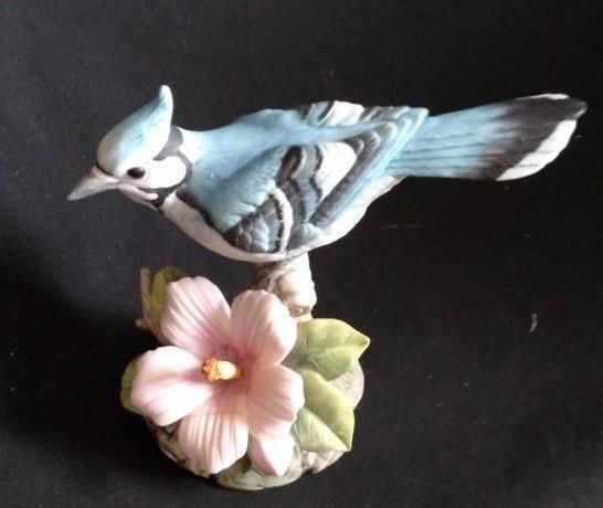 Vintage Andrea by Sadek 9386 Blue Jay Bird Flower