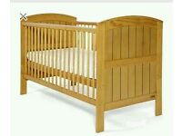 Mamas and Papas Hayworth pine cot bed with underbed drawer and changer