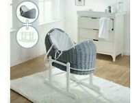Kinder valley Grey pod wicker moses basket with white Waffle bedding & FREE ROCKING stand.