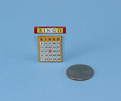 Adorable Dollhouse Miniature Packaged Bingo Cards #RUN177B