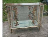 Vintage glass china cabinet glass sliding doors and shelving on inside dansette legs Danish style