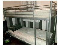 Set of Metal Silver Bunk Bed