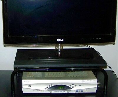BLACK WOOD TV MONITOR SWIVEL BASE TURNTABLE STAND ROTATING 2 TIER UP TO 36