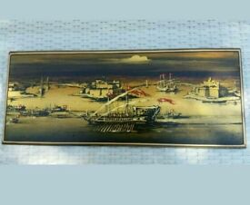 Wooden plaque panel picture of boats in a harbour