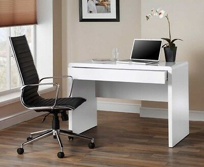 Luxor White Gloss Home Office Desk Workstation with Hidden Drawer