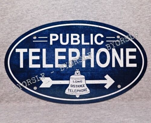 Metal Sign TELEPHONE public pay coin vintage replica phone booth rotary oval