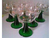 Set of 6 Vintage Green Stem Wine Glasses