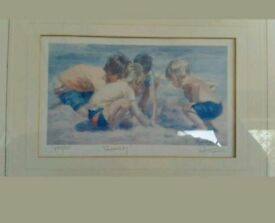 Limited edition signed framed Lucelle Raad vintage print - children on a beach