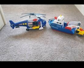 Large Helicopter/Boat rescue toys