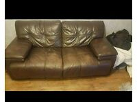 FREE 2 and 3 seater brown leather couches
